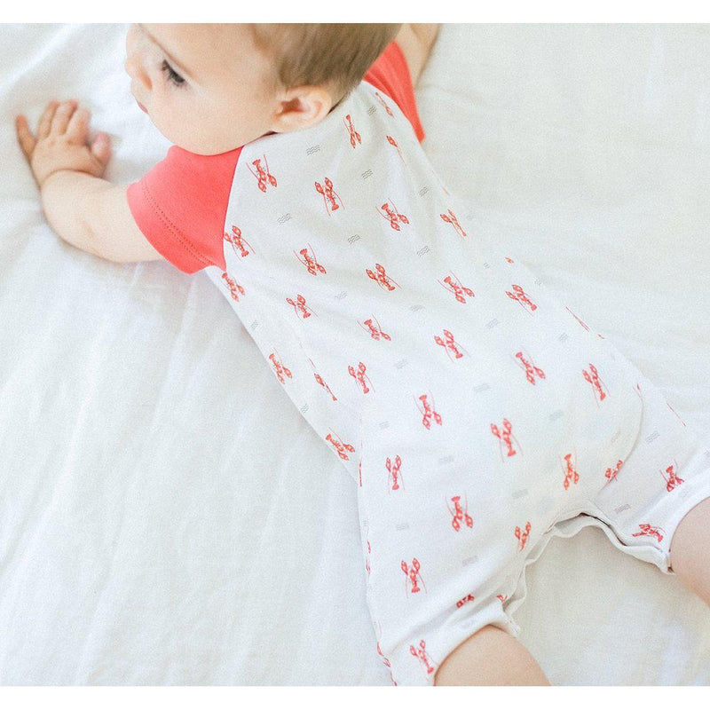 Sailor-Sleeve Short Romper ~ Lobsters on White