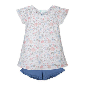 Ruched Tunic + Short ~ Caroline Floral on White-2-Piece Sets-Feather Baby-Kissy-Pima-Organic-Gift-Free_Shipping