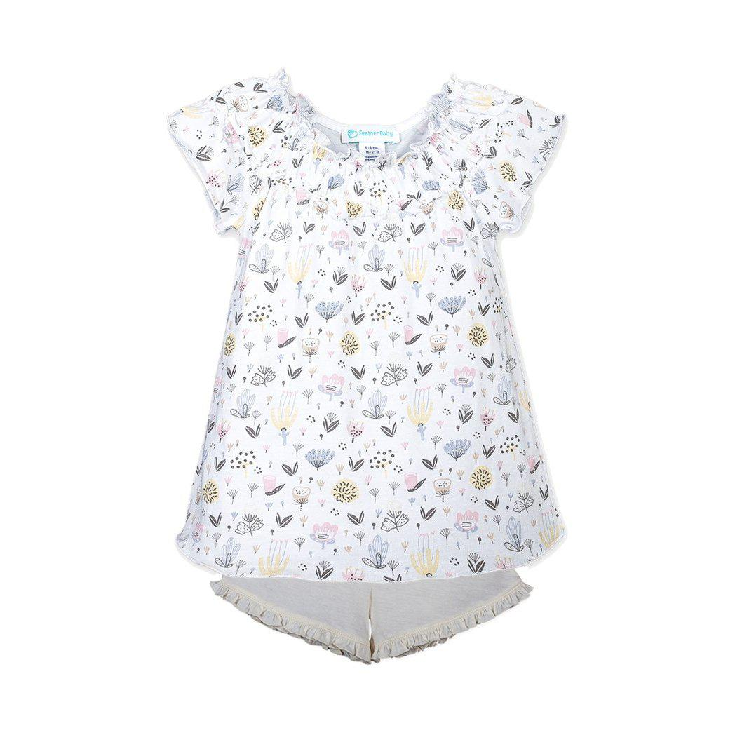 Ruched Tunic + Short ~ Kim Floral on White-2-Piece Sets-Feather Baby-Kissy-Pima-Organic-Gift-Free_Shipping