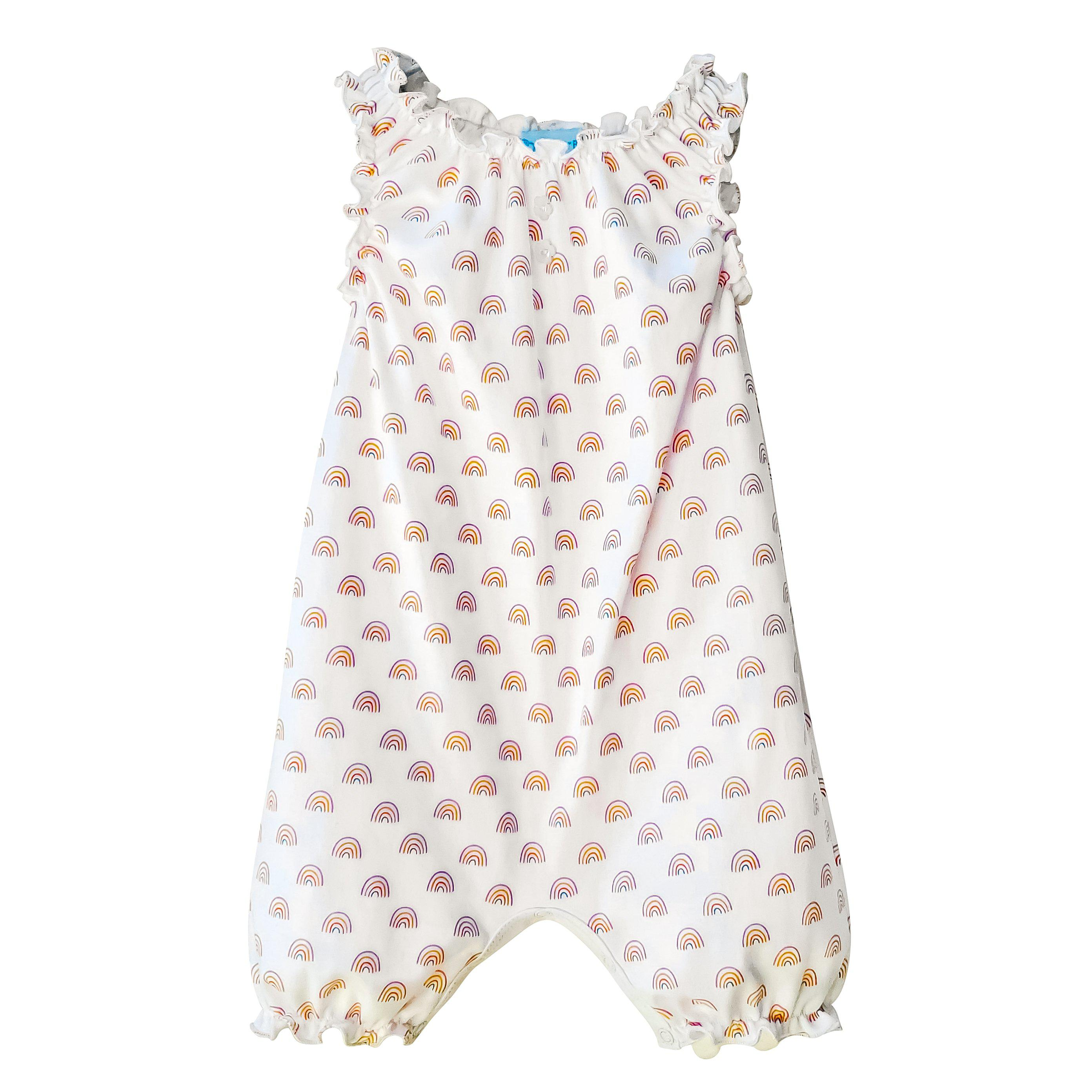 Sleeveless Romper - Rainbows on White