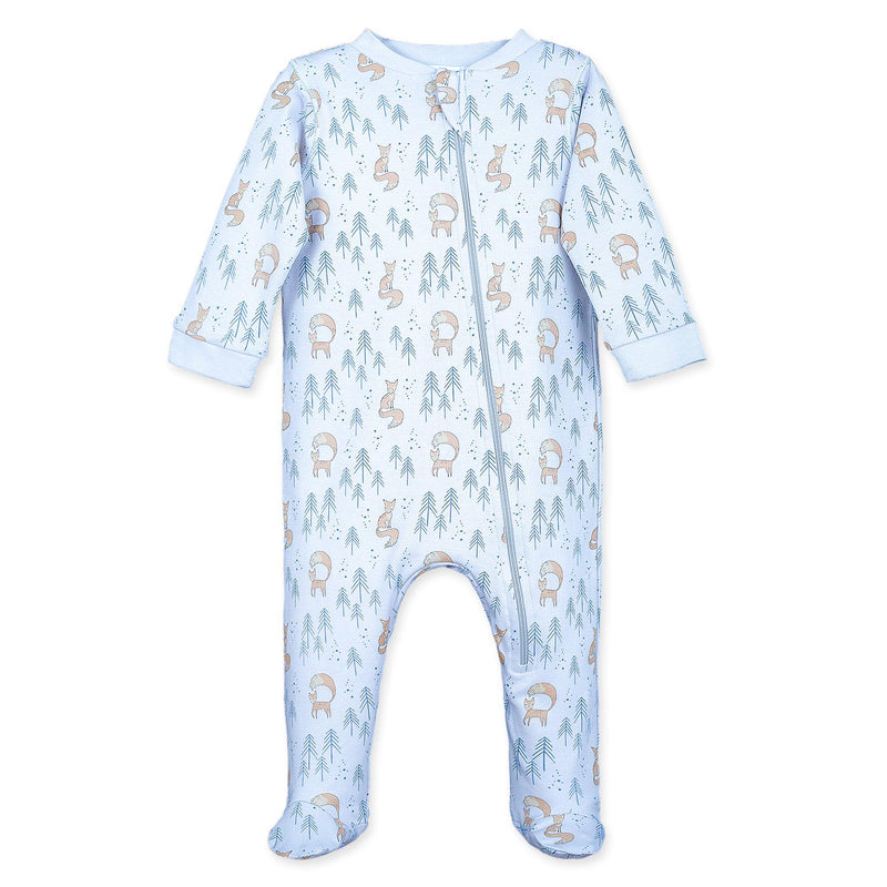 Zipper Footie ~ Foxy on Baby Blue-Long Rompers-Feather Baby-Free Shipping-Gift Wrap-Pima Cotton