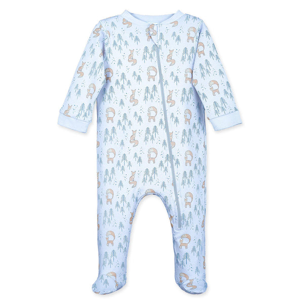 Zipper Footie~ Foxy on Baby Blue