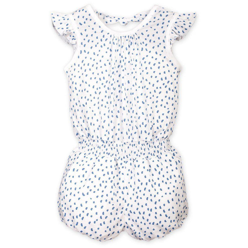 Tie Romper ~ Pintas - Blue on White-Short Rompers-Feather Baby-Kissy-Pima-Organic-Gift-Free_Shipping