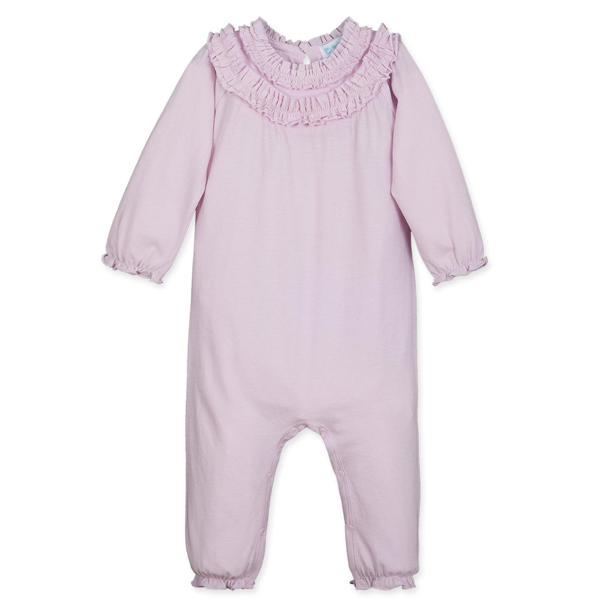 Double-Ruffle Cover-All ~ Soft Pink-Long Rompers-Feather Baby-Kissy-Pima-Organic-Gift-Free_Shipping