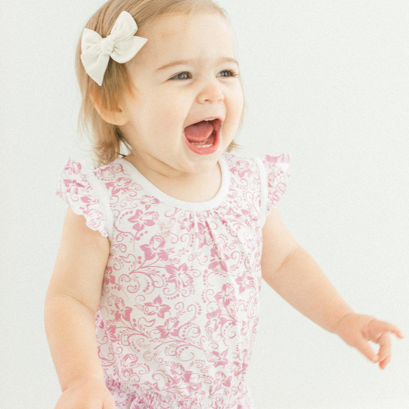 Tie Romper ~ Daffodil - Hot Pink on White-Short Rompers-Feather Baby-Kissy-Pima-Organic-Gift-Free_Shipping