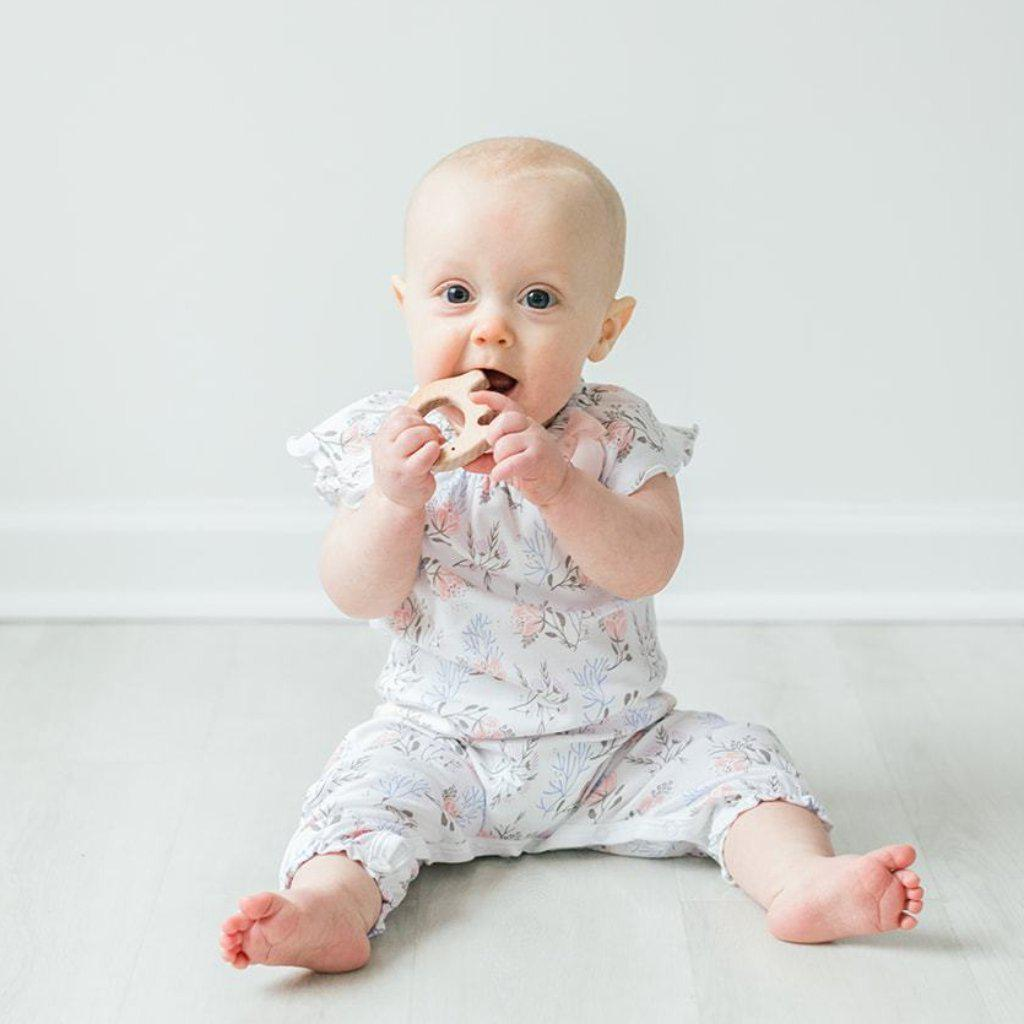Bow Romper ~ Annabelle on White-Long Rompers-Free Shipping-Pima Cotton-Gift Wrap-Feather Baby
