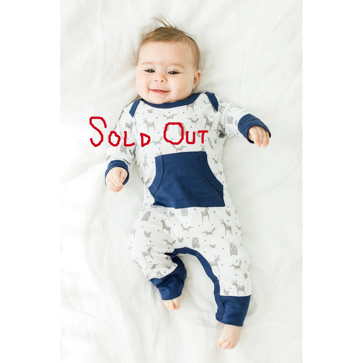 Kangaroo Romper in Woodland - Indigo on White-[Pima Cotton]-[Free Shipping]-[Peru]-[Gift Wrap]-Feather Baby
