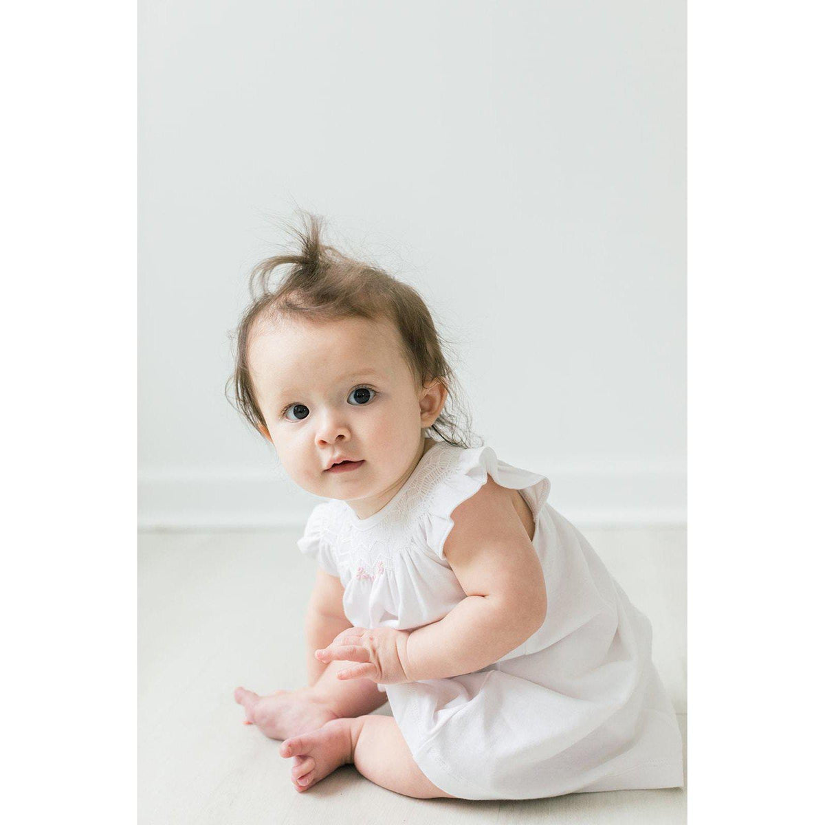 Hand-Smocked Knit Dress + Bloomer ~ White-Dresses-Soft Pima Cotton-Free Shipping-Baby Gift Wrap-Feather Baby
