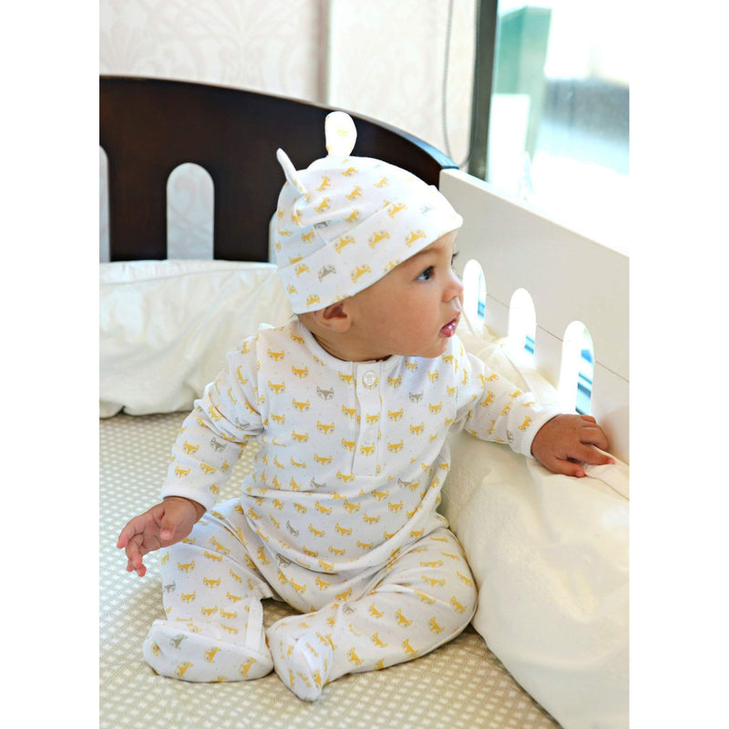Henley Footie in Fox - Orange on White-Footies-Pima Cotton-Feather Baby