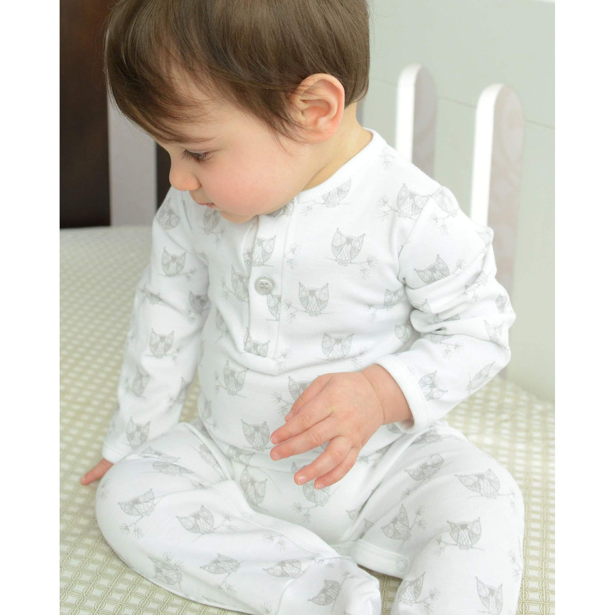 Henley Footie in Owls - Wood on White-Footies-Free Shipping-Pima Cotton-Gift Wrap-Feather Baby