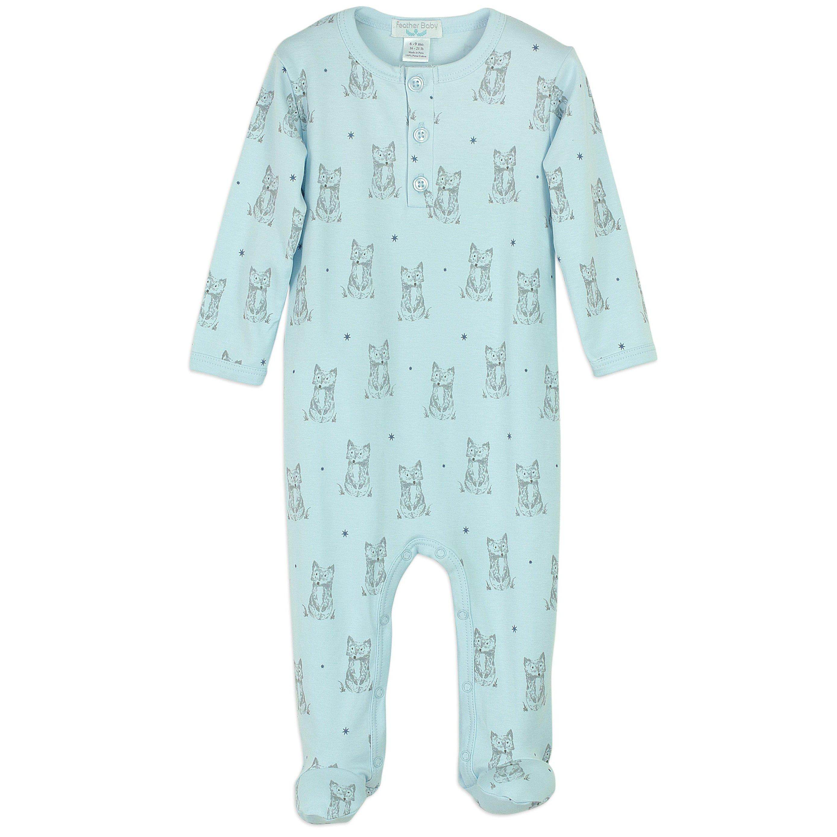 Henley Footie~Patient Fox on Baby Blue-Footies-Feather Baby-Kissy-Pima-Organic-Gift-Free_Shipping