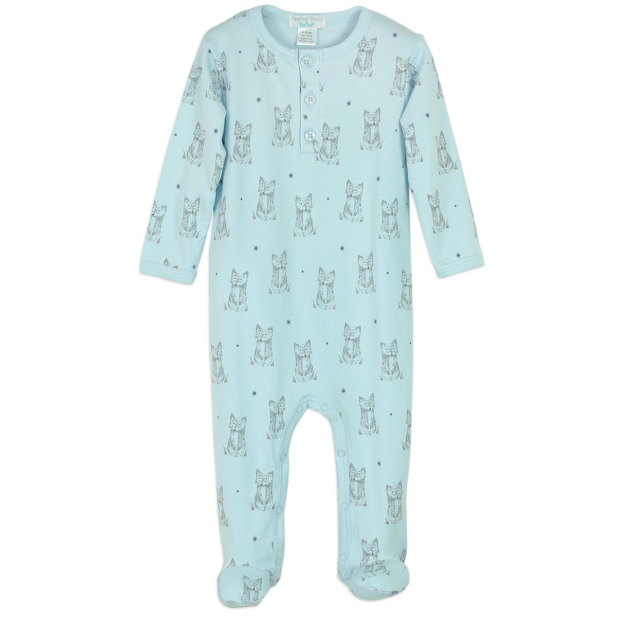Henley Footie~Patient Fox on Baby Blue-Footies-Free Shipping-Pima Cotton-Gift Wrap-Feather Baby