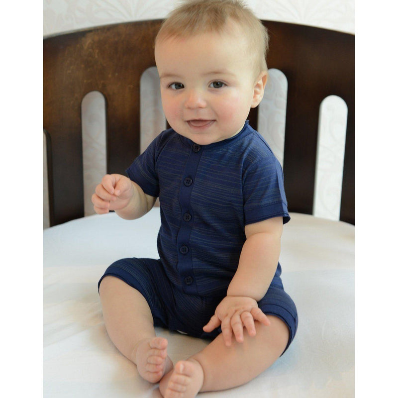 Henley Romper ~ Stripe on Indigo-Boys Short Rompers-Feather Baby-Kissy-Pima-Organic-Gift-Free_Shipping