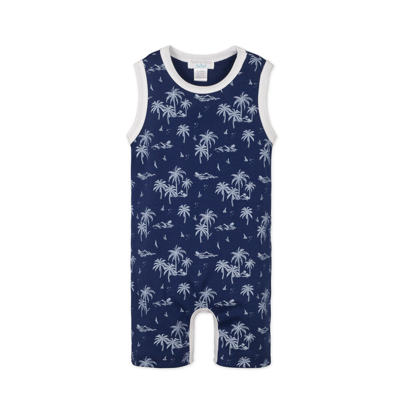 Tank Romper ~ Vintage Hawaii - White on Indigo-Boys Short Rompers-Free Shipping-Pima Cotton-Gift Wrap-Feather Baby