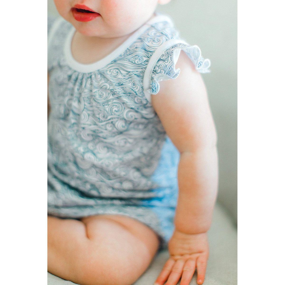 Tie Romper ~ Anime Wave-Short Rompers-Soft Pima Cotton-Free Shipping-Baby Gift Wrap-Feather Baby