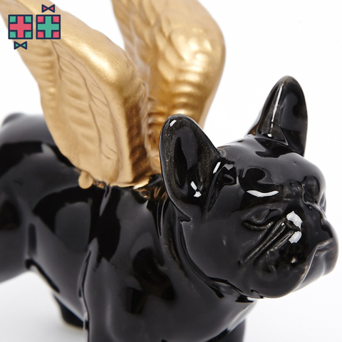 Bulldog Jewellery Holder with Gold Wings - Gift Doctors - 1