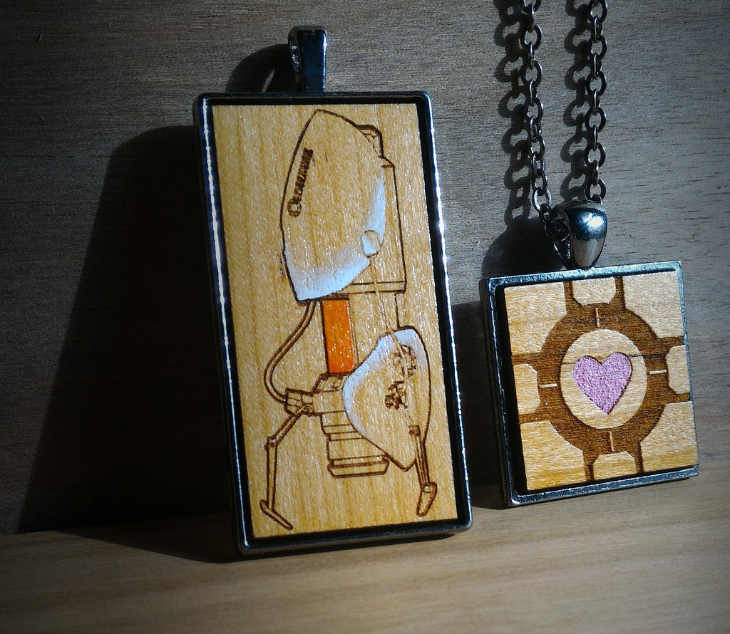 Portal Handmade Companion Cube and Portal Gun Necklace