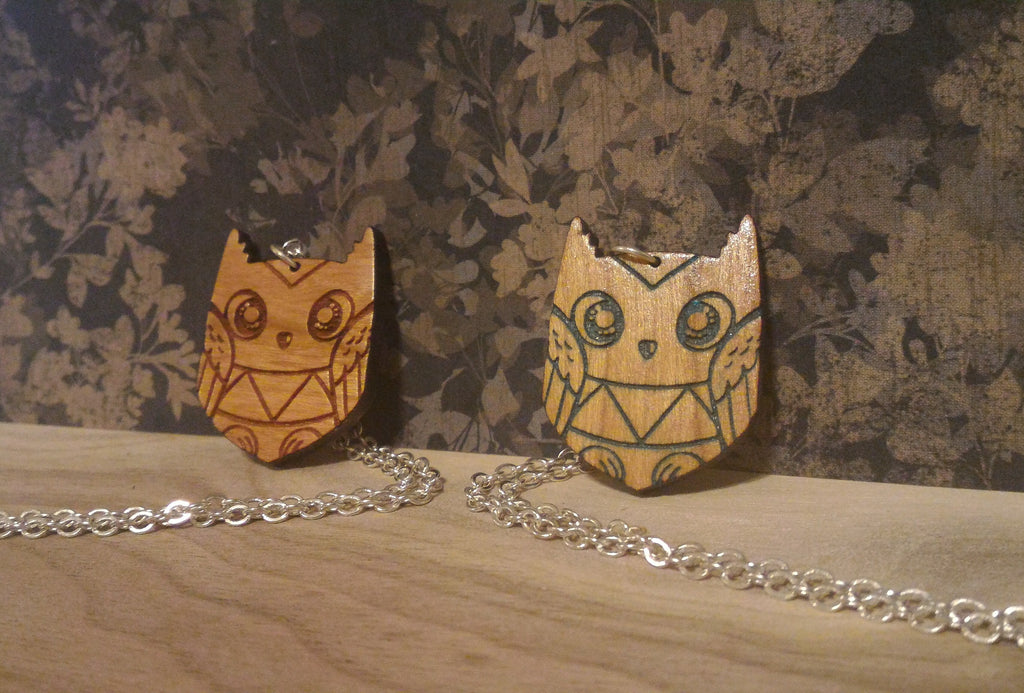 Cute Wooden Owl Necklaces