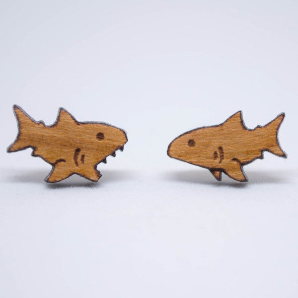 Cute Wooden Shark Post Earrings || Shark Week Jewelry