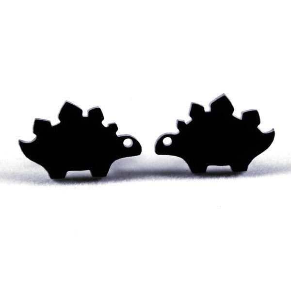Tiny Stegosaurus Dinosaur Stud Earrings | Black Acrylic