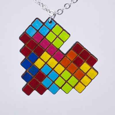 Colorful Tetris Heart Necklace
