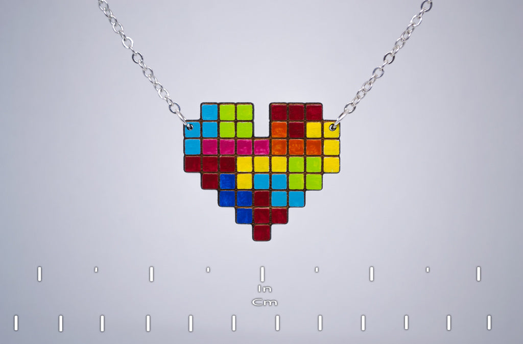 Tetris Heart Necklace