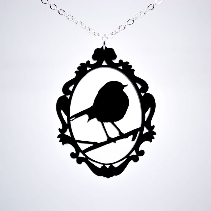 Ornate Framed Bird Necklace - Acrylic Necklace
