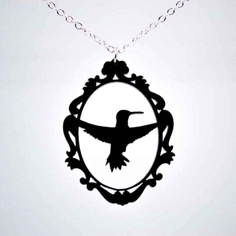 Framed Hummingbird Pendant - Acrylic Necklace