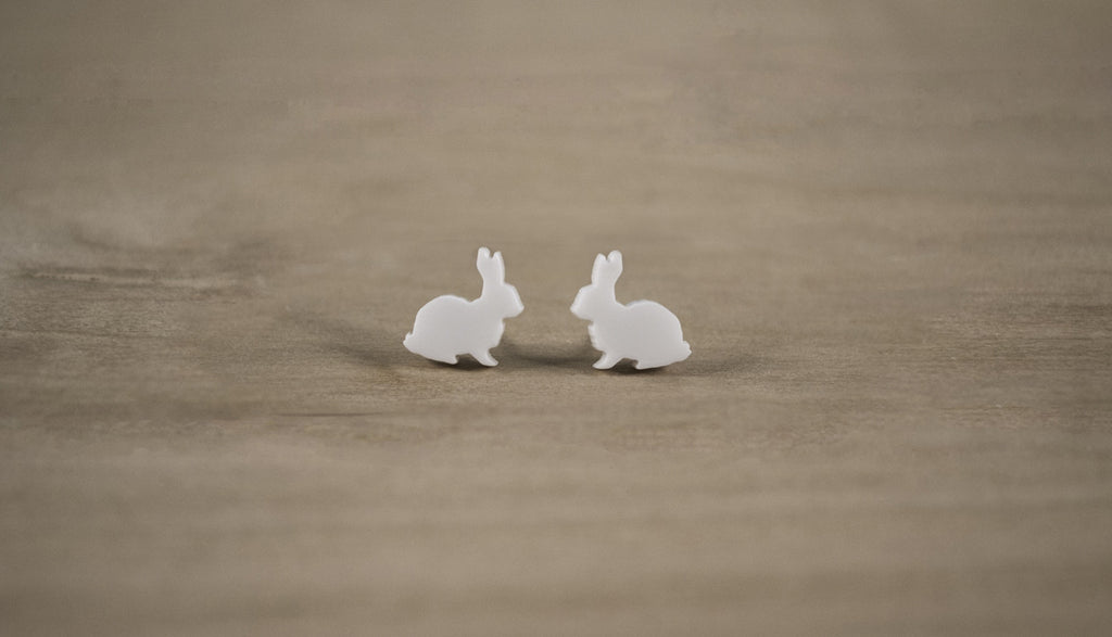 White Rabbit Acrylic Earrings - Acrylic Earring Studs - Alice in Wonderland