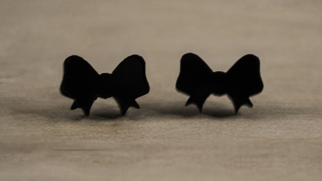 Tiny Black Bow Cute Acrylic Earrings - Acrylic Earring Studs