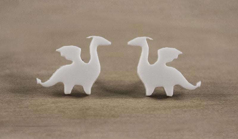 White Dragon Acrylic Earrings - Acrylic Earring Studs