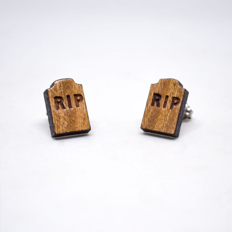 RIP Gravestone Post Earrings - Wooden Earrings
