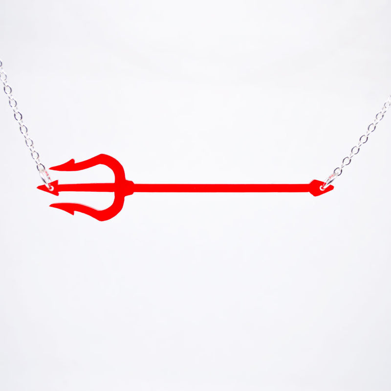 Halloween Pitchfork Necklace - Acrylic Necklace