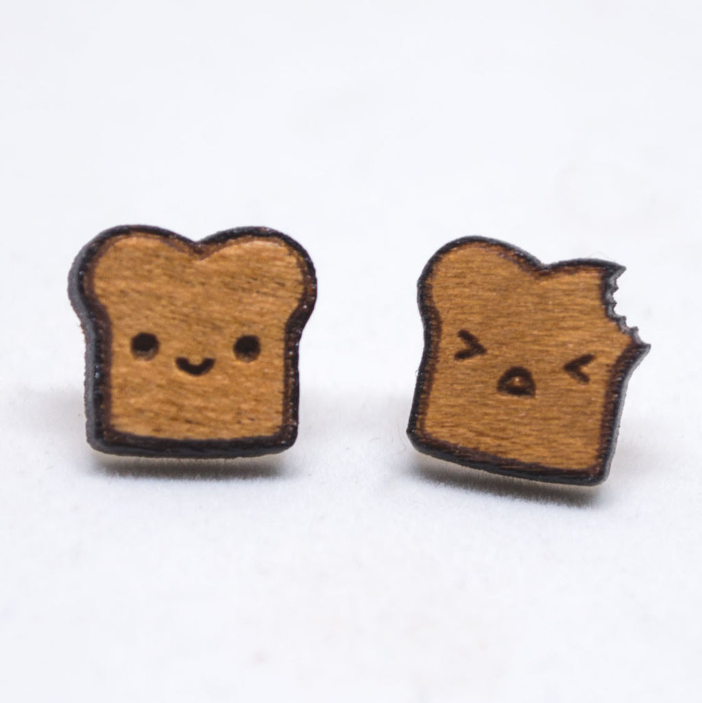 Chibi Toast Stud Earrings - Hypoallergenic Titanium Post Earrings