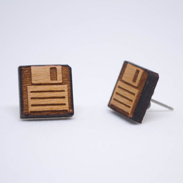 Wooden Floppy disk Earrings