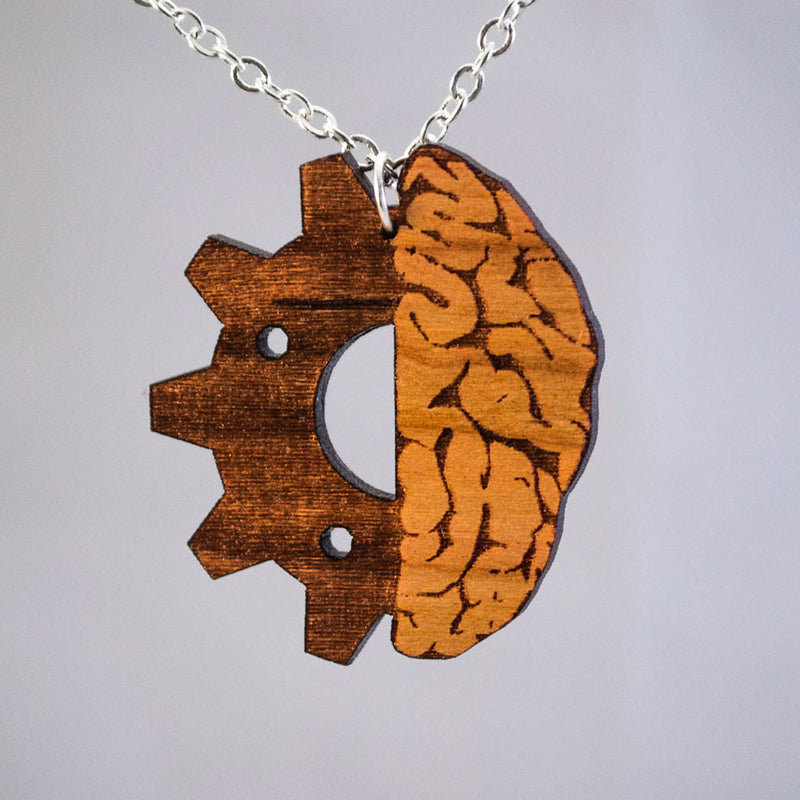Nerdy Handmade Wooden Gearhead Brain Necklace Pendant Jewelry