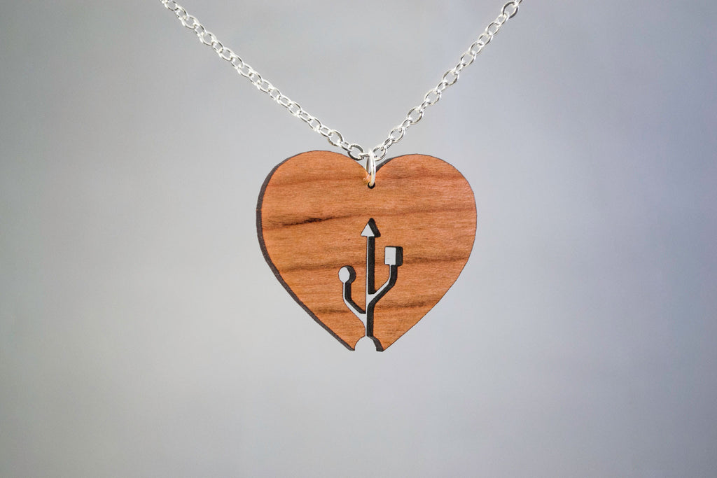 Nerdy USB Love Heart Wooden Necklace - Geeky Romantic Pendant