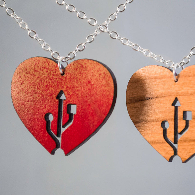 Geeky USB Love Heart Jewelry Necklace Pendant