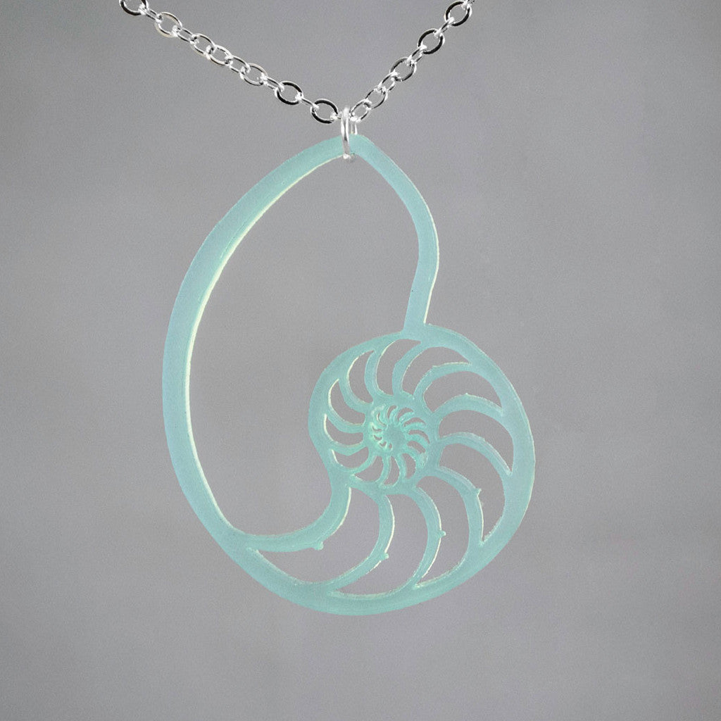 Unique Nautilus Shell Fossil Acrylic Necklace Pendant Jewelry