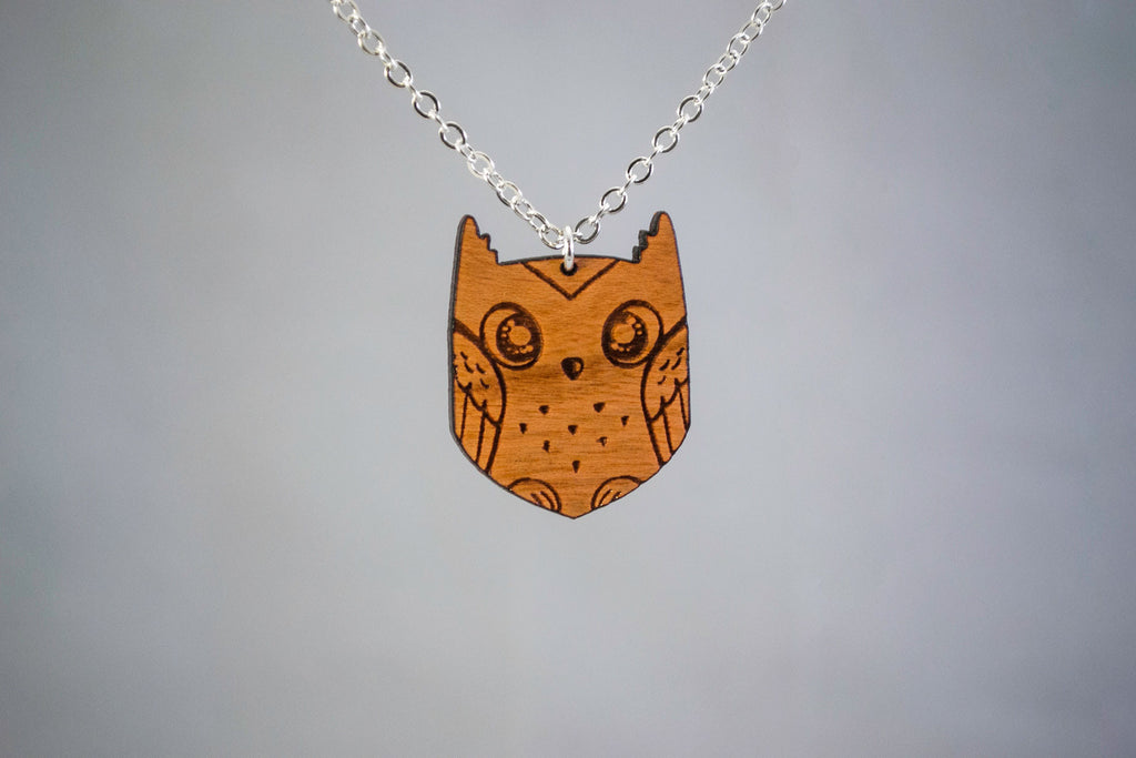 Cute Engraved Owl Wooden Necklace
