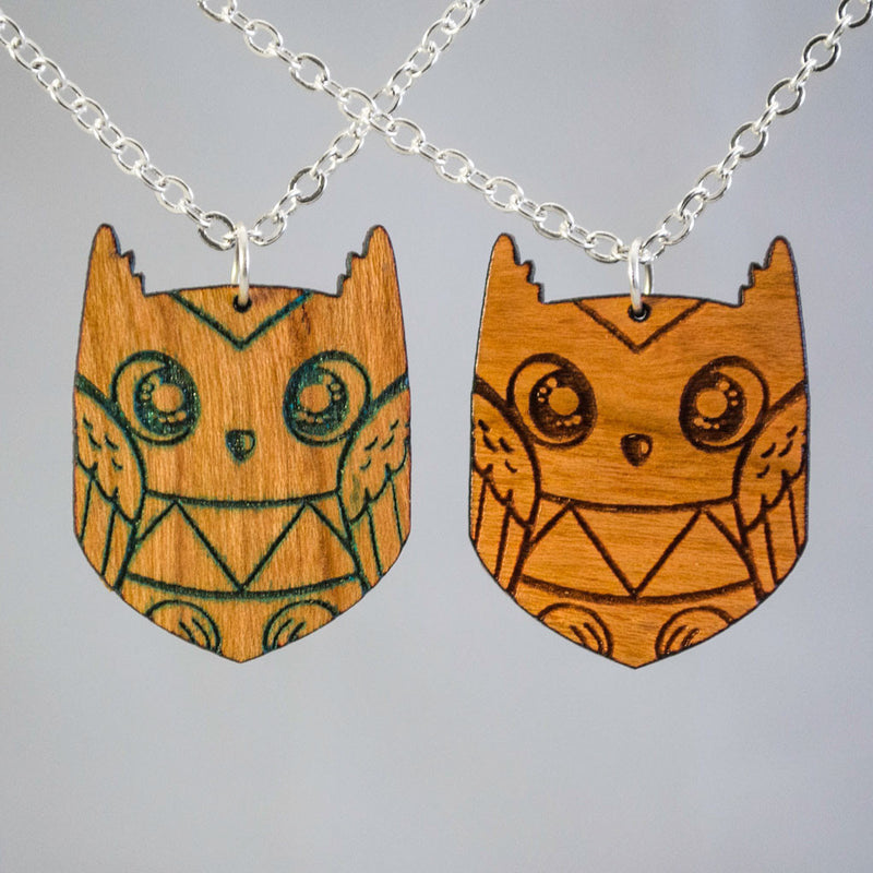 Geometric Wood Owl Necklace