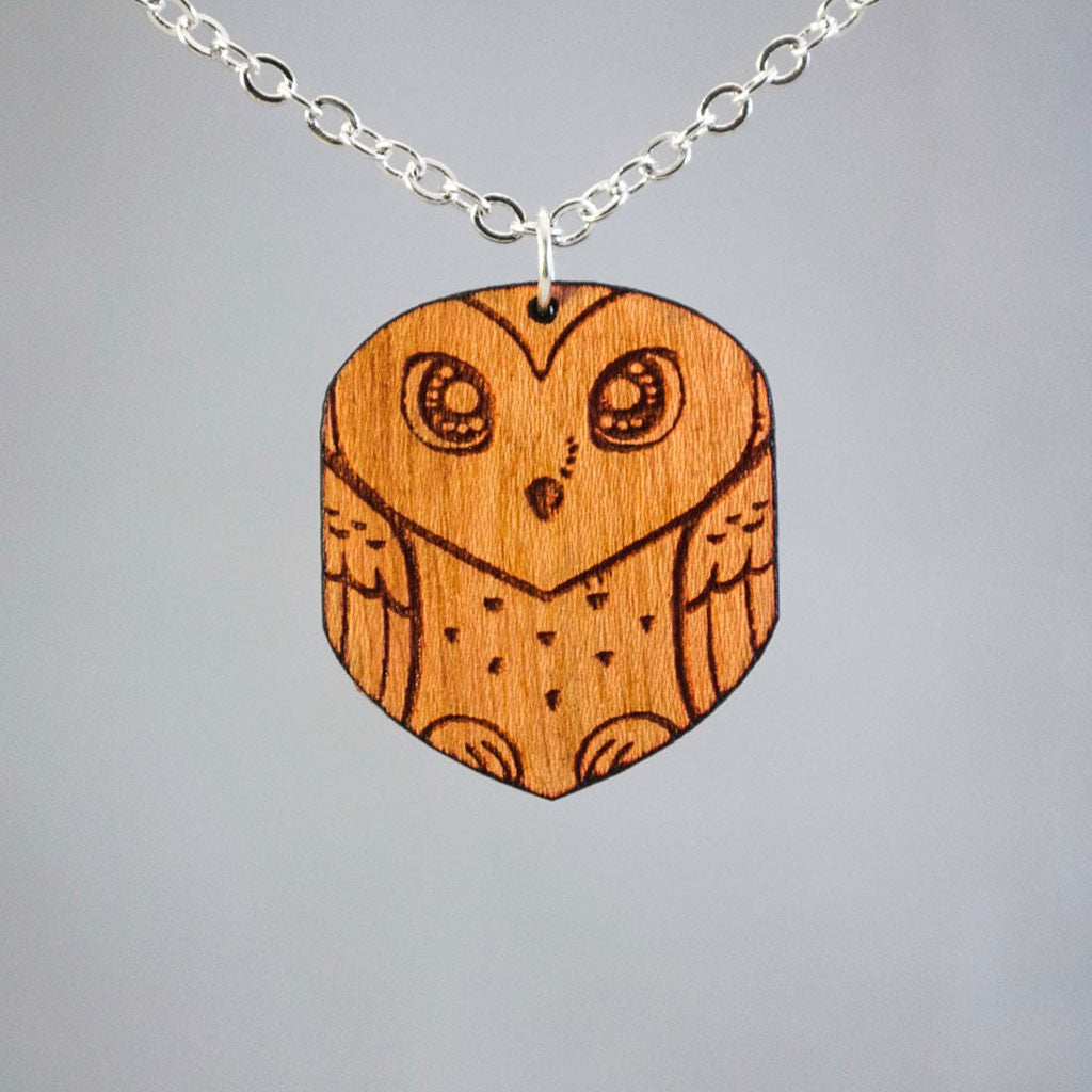 Wooden Barn Owl Necklace