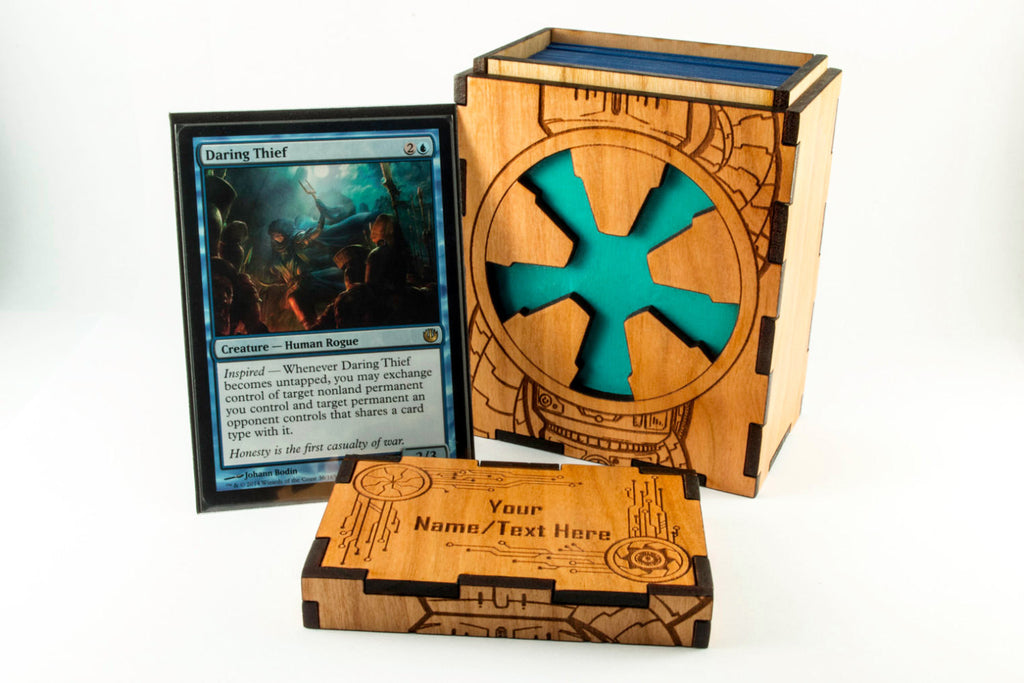 Unique Wooden Sci-Fi Themed TCG Magic the Gathering card Deck Box