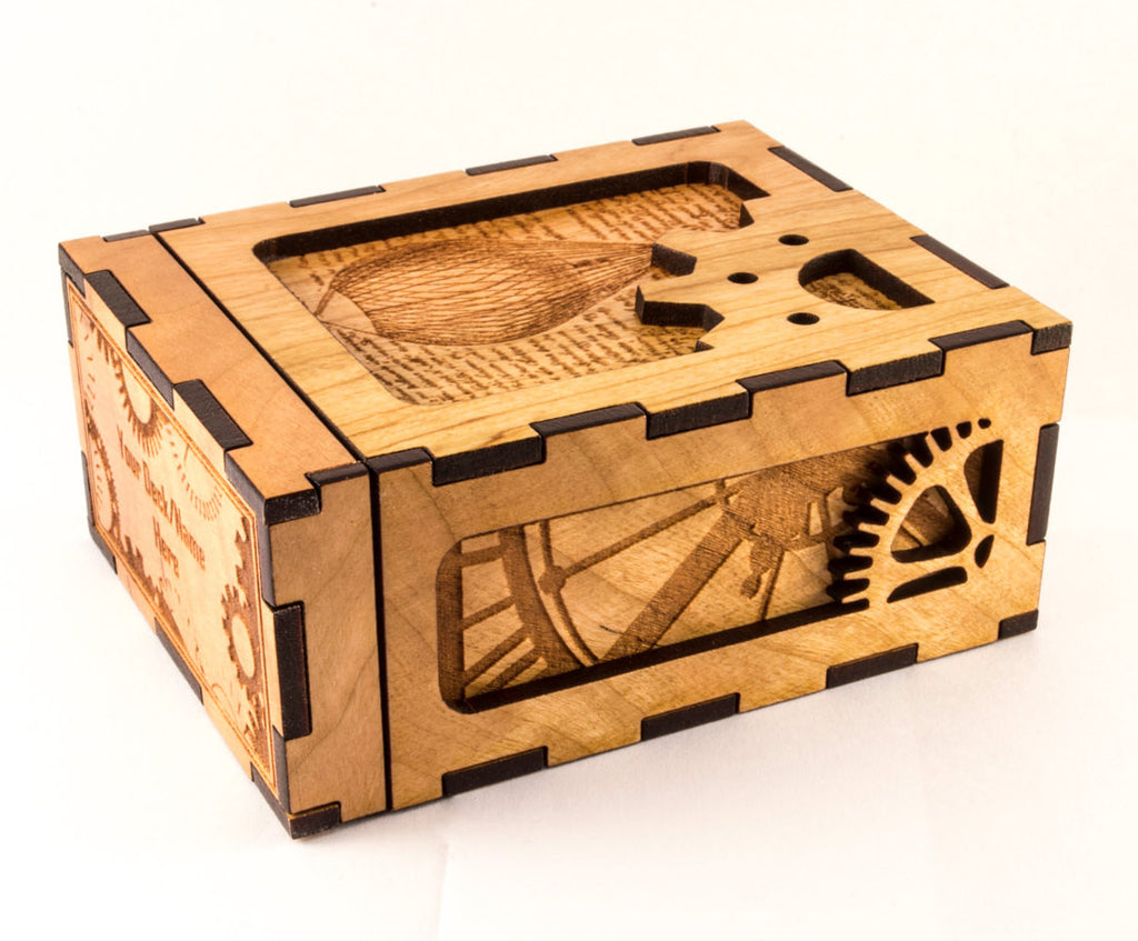 Wooden Steampunk Deck Box Side and Front