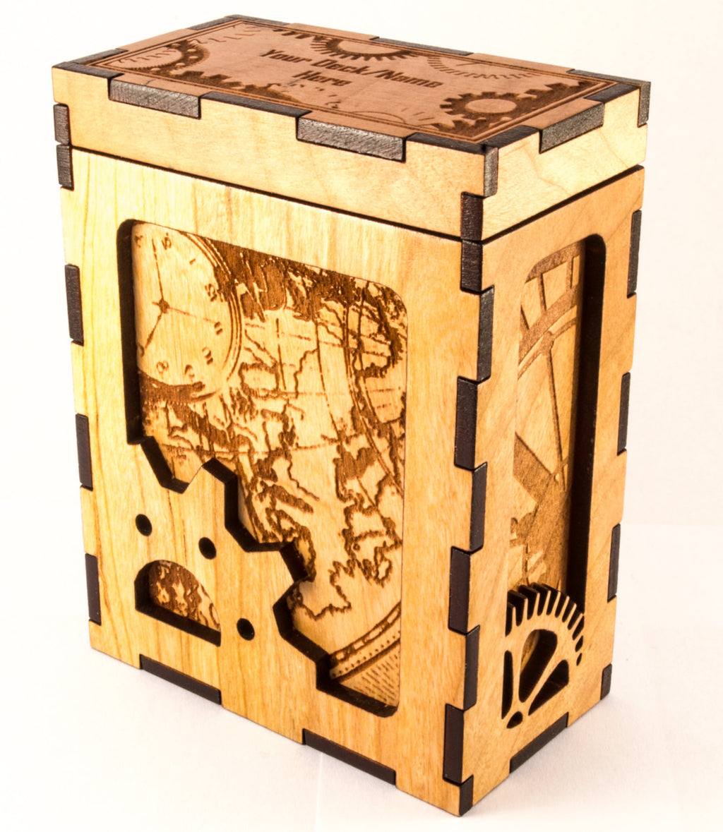 Wooden Steampunk Deck Box Back and Side