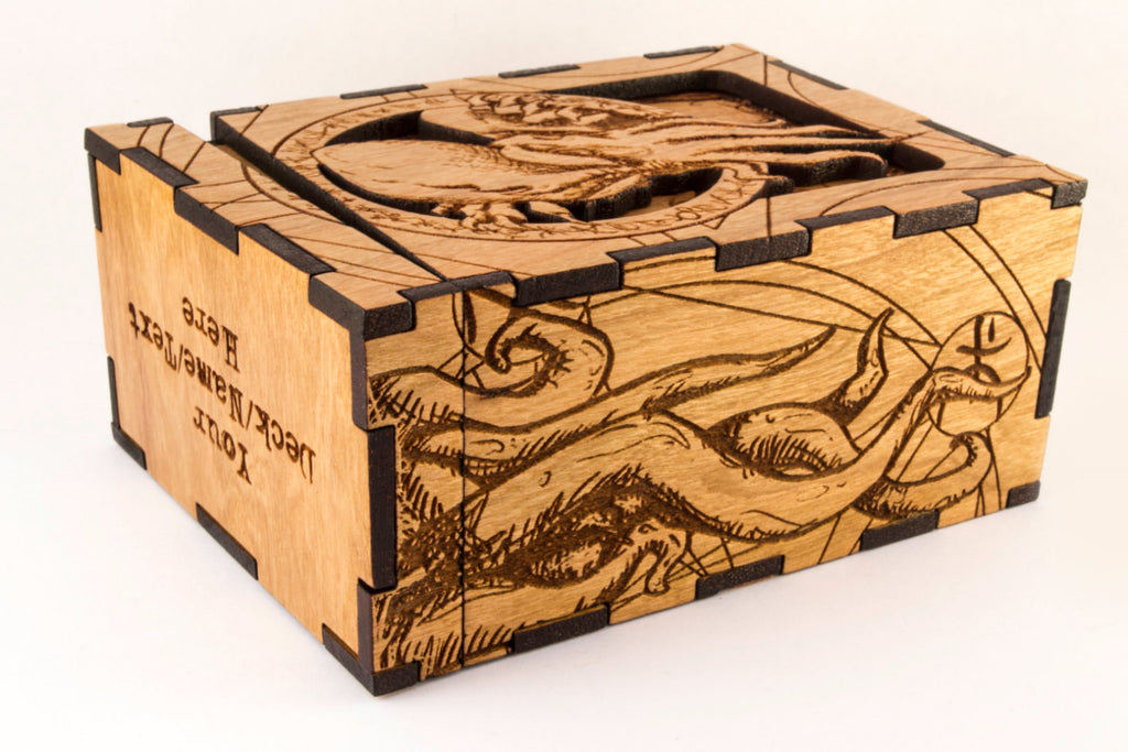 Cthulhu Tenticles box side engraved Wooden Deck Box