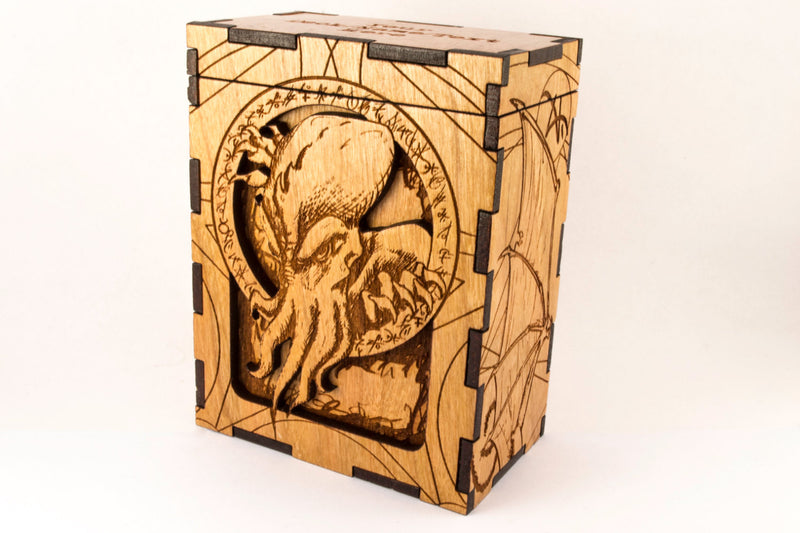 Unique Handmade Wooden Eldrich Cthulhu from H. P. Lovecraft TCG MTG Card Deck Box