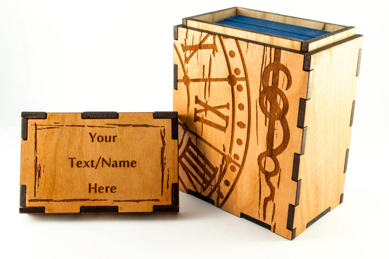 Clock and Clockhand rustic Steampunk Deck Box