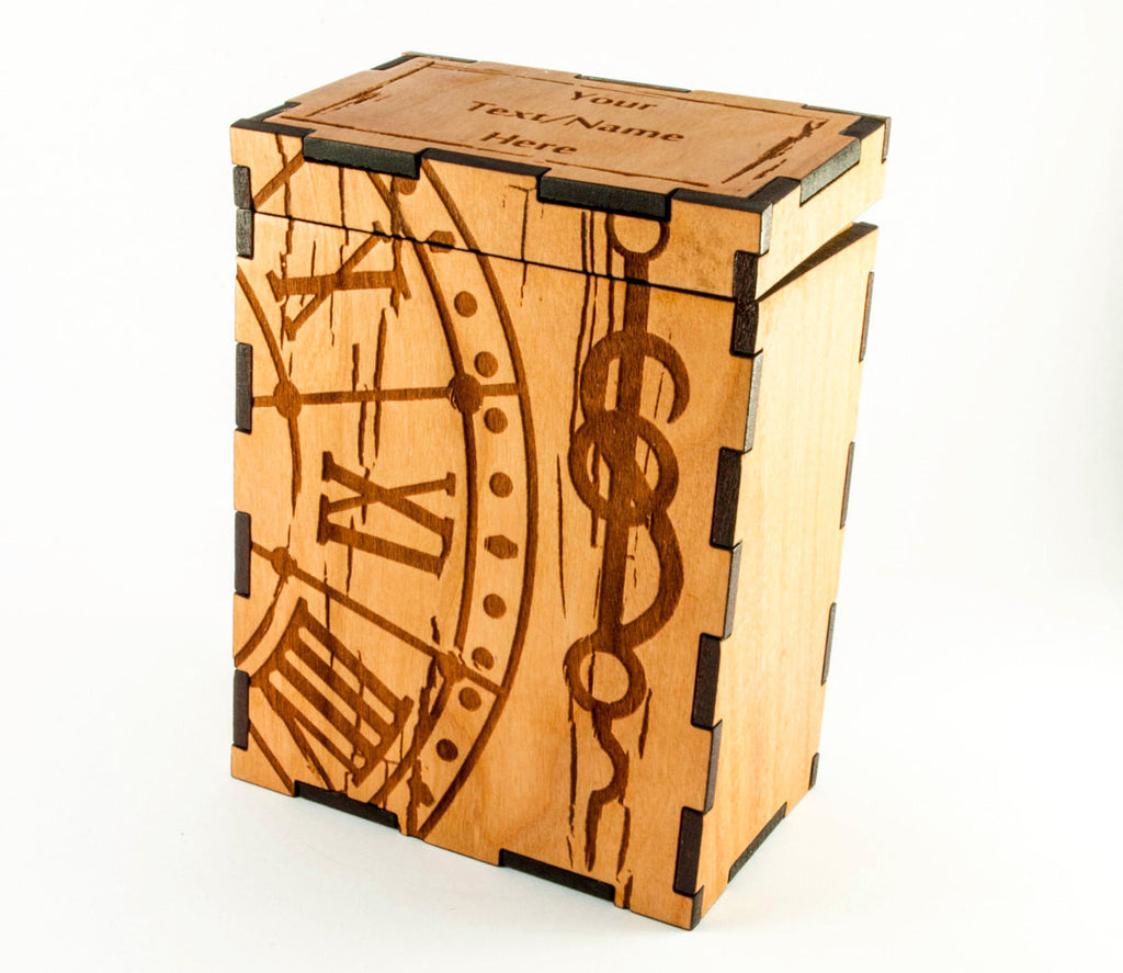 Wooden engraved Steam Punk Magic the Gathering Card Game Box