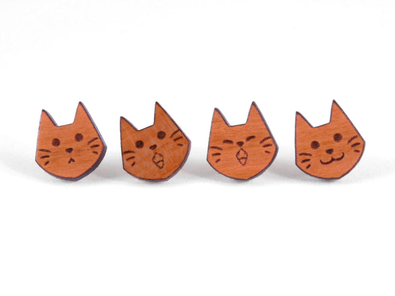 Kitty Cat Engraved Wood Earrings - Hypoallergenic